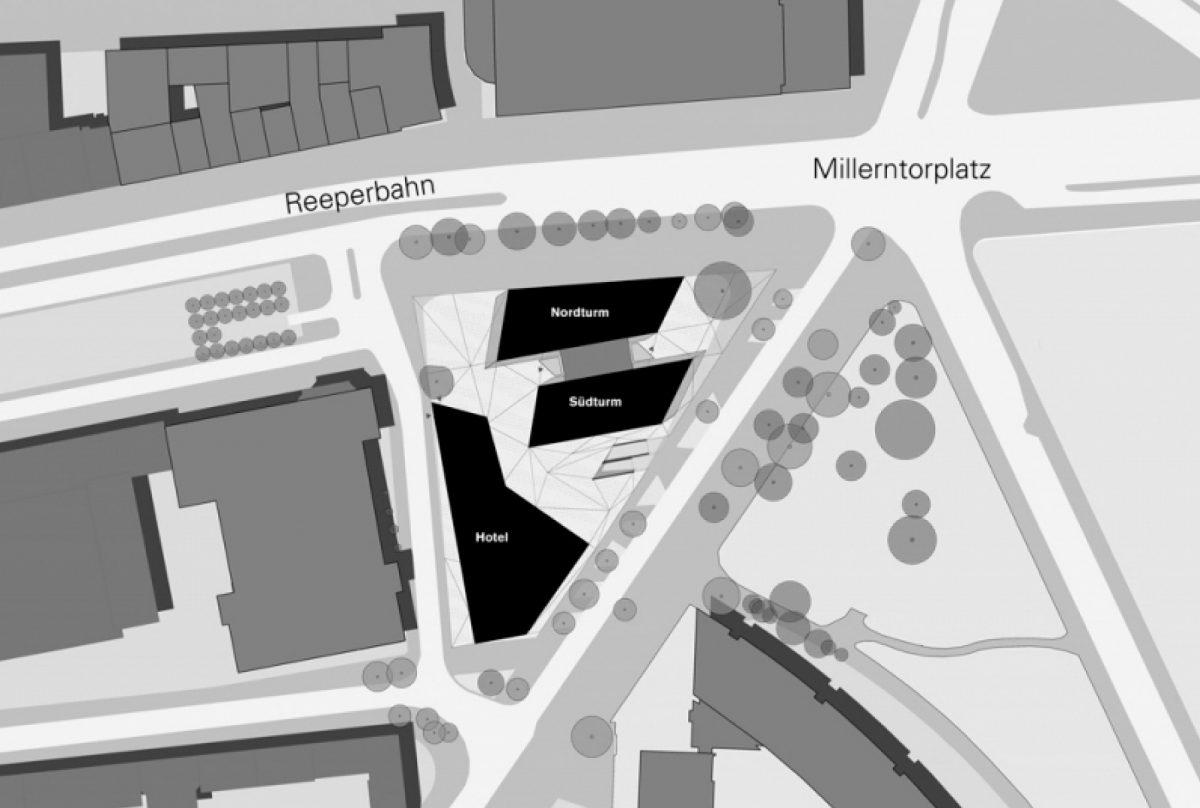Lageplan, Tanzende Türme, Reeperbahn, Hamburg