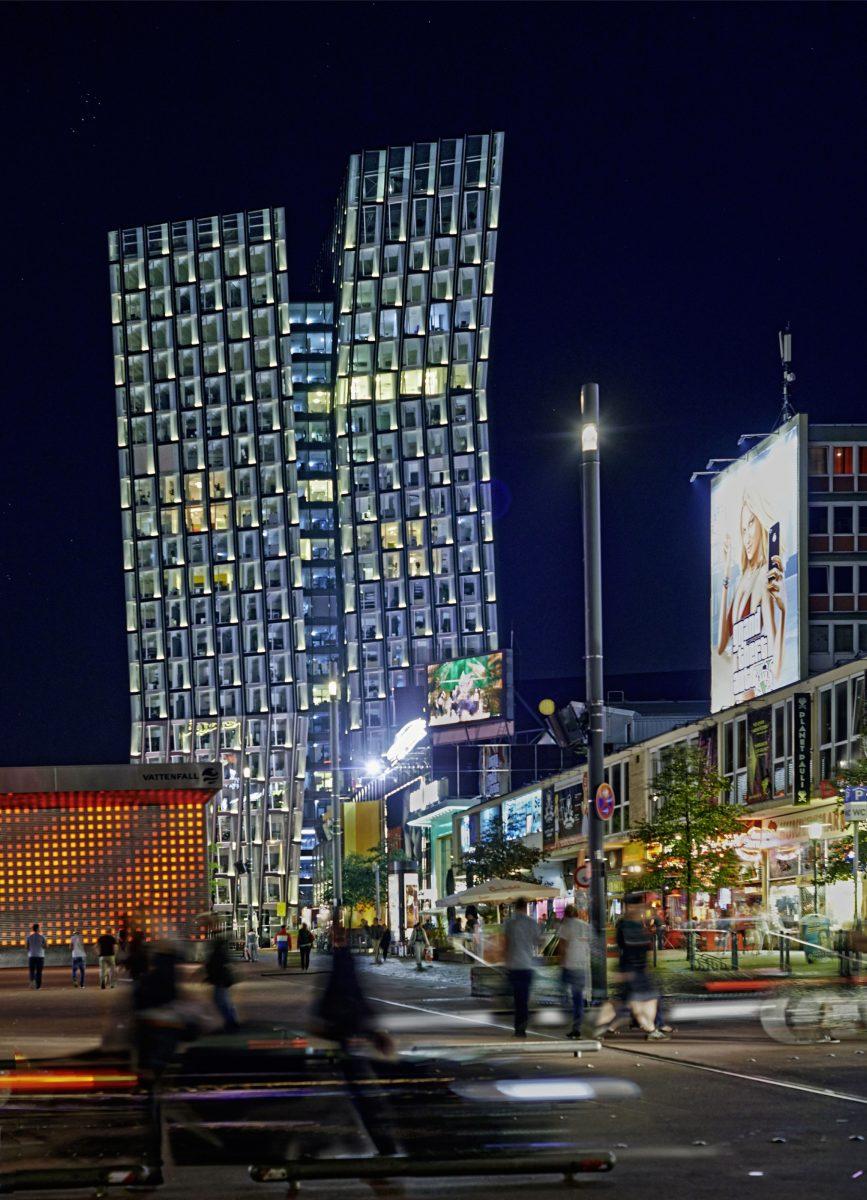 Nachtaufnahme, Tanzende Türme, Reeperbahn, Hamburg